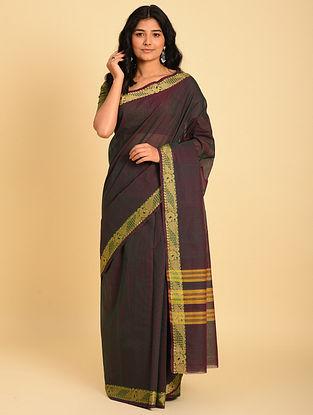 Purple Handwoven  Cotton Saree