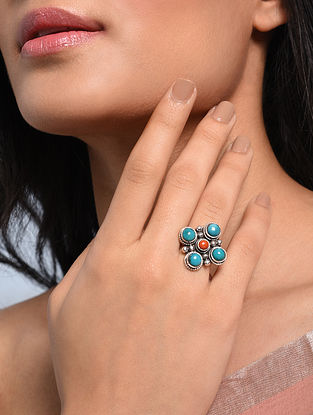Tribal Silver Adjustable Ring with Turquoise and Coral