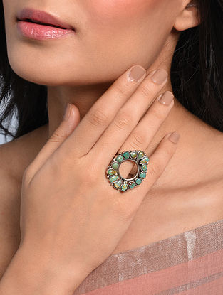 Tribal Silver Adjustable Ring with Turquoise