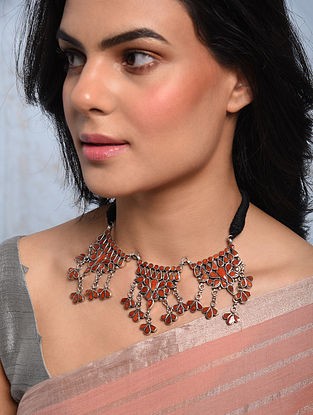 Tribal Silver Choker Necklace with Coral