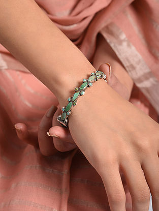 Tribal Silver Openable Bangle  with Turquoise (Size: 2/4)