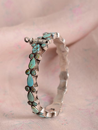 Tribal Silver Openable Bangle  with Turquoise (Size: 2/6)