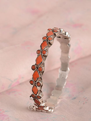 Tribal Silver Bangle  with Coral (Size: 2/6)
