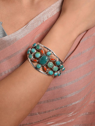 Tribal Silver Cuff with Turquoise and Coral