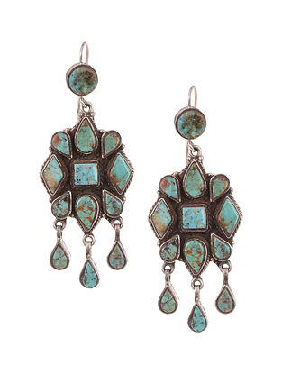 Tribal Silver Earrings with Turquoise