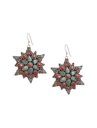 Tribal Silver Earrings with Turquoise and Coral