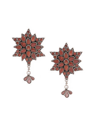 Tribal Silver Earrings with Coral