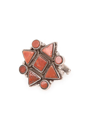 Tribal Silver Adjustable Ring with Coral