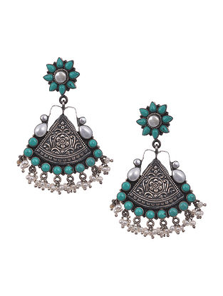 Blue White Tribal Silver Earrings with Turquoise and Pearls