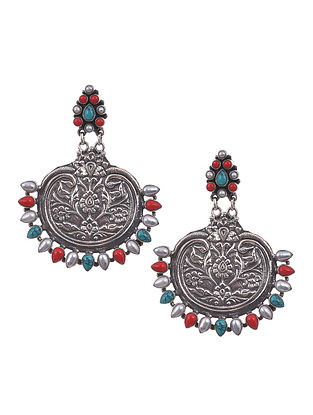 Red Blue Tribal Silver Earrings with Turquoise