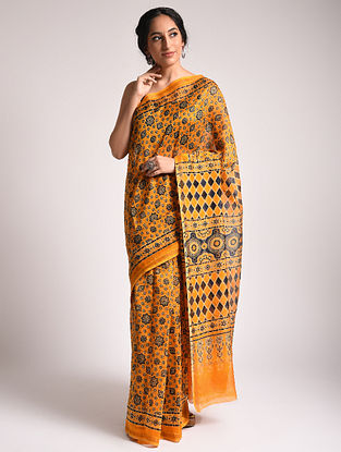 Yellow Ajrakh Printed Chanderi Silk Cotton Saree