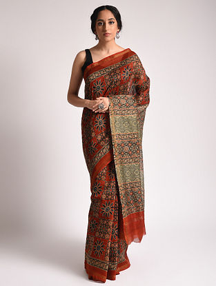 Red Ajrakh Printed Chanderi Silk Cotton Saree