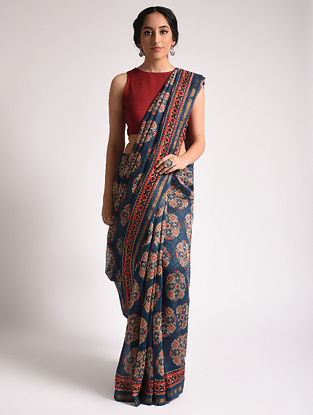 Blue Ajrakh Printed Chanderi Silk Cotton Saree