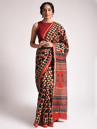 Beige Ajrakh Printed Chanderi Silk Cotton Saree