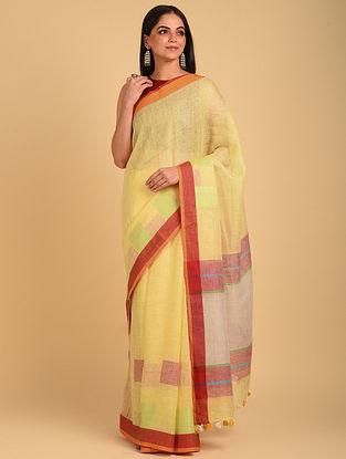Yellow Handwoven Bunti Linen Saree