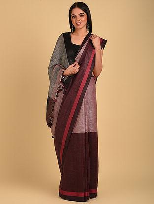 Multicolour  Handwoven Linen Saree