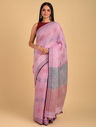 Pink Handwoven Bunti Linen Saree