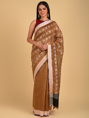 Brown Handwoven Bunti Linen Saree
