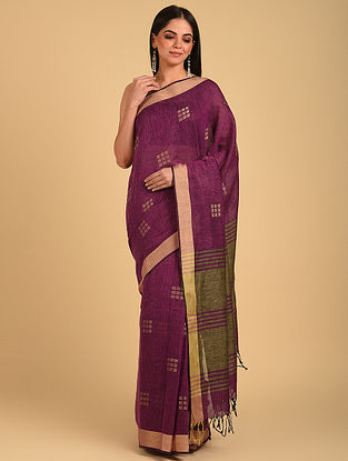 Purple Handwoven Bunti Linen Saree