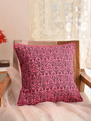 Bubblegum Pink and Black Block Printed Cushion Cover (L- 16in, W- 16in)