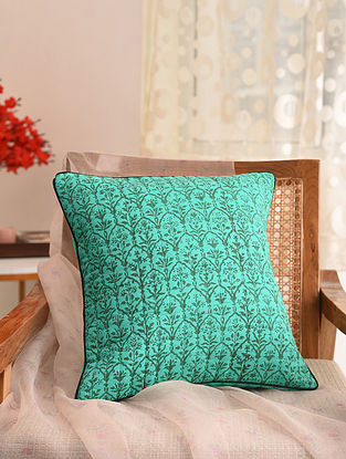 Emerald Green and Green Block Printed Cushion Cover (L- 16in, W- 16in)