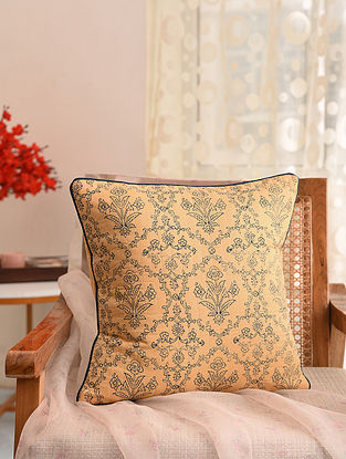 Beige and Indigo Block Printed Cushion Cover (L- 16in, W- 16in)