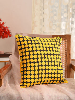 Yellow and Black Block Printed Cushion Cover (L- 16in, W- 16in)