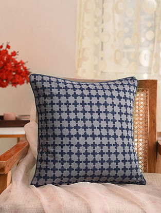 Grey and Indigo Block Printed Cushion Cover (L- 16in, W- 16in)