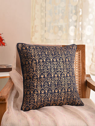 Indigo and Gold Block Printed Cushion Cover (L- 16in, W- 16in)