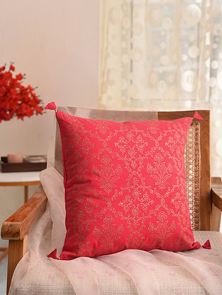 Red and Gold Block Printed Cushion Cover (L- 16in, W- 16in)