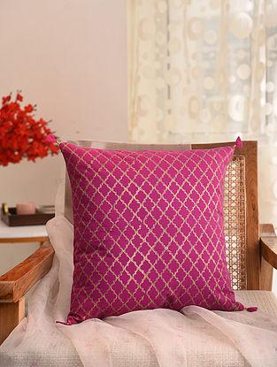 Fushia and Gold Block Printed Cushion Cover (L- 16in, W- 16in)