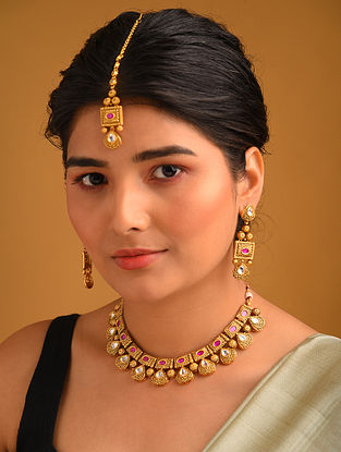 Red Gold Tone Temple Necklace And Earrings With Maangtikka