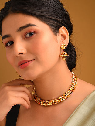 Gold Tone Temple Necklace With Jhumki Earrings