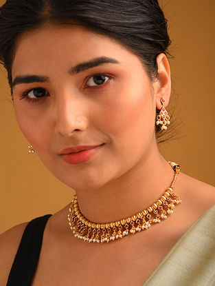 Pink Gold Tone Temple Necklace And Earrings With Pearls