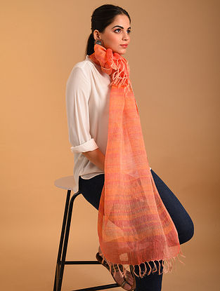 Orange Handwoven  Linen Stole