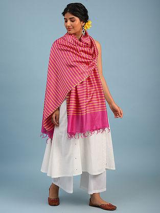 Pink Handwoven  Eri And Mulberry Silk Dupatta