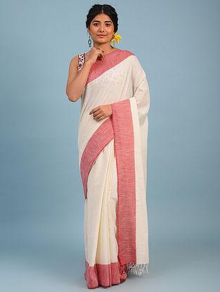 White Bhagalpuri Cotton Saree