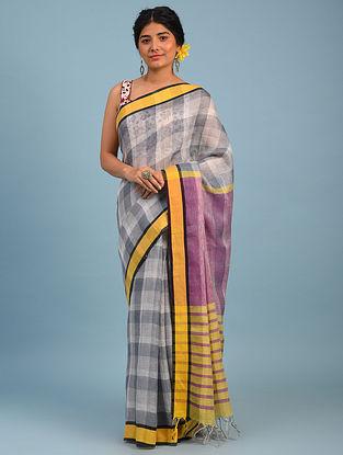 Grey Bhagalpuri Linen Saree