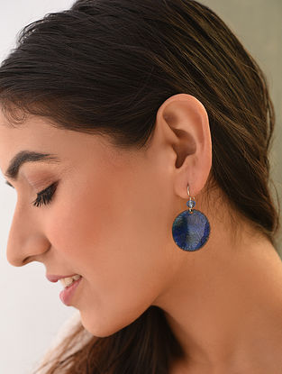 Blue Enameled Earrings