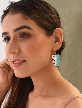 Blue White Enameled Earrings