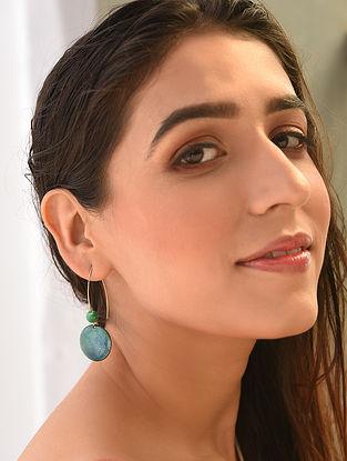 Green Blue Enameled Earrings
