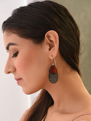 Black Red Enameled Earrings