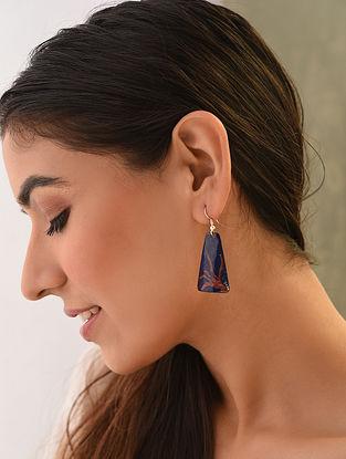 Blue Red Enameled Earrings