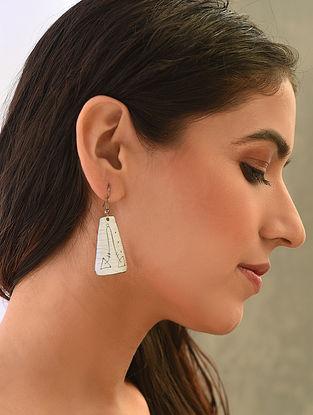White Enameled Earrings