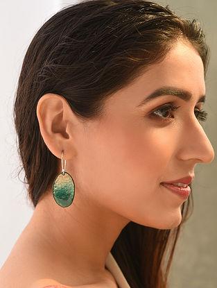 Blue Green Enameled Earrings