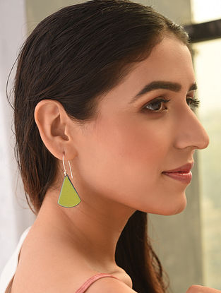 Yellow Enameled Earrings