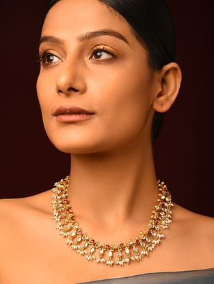 Red Gold Plated Kundan Silver Necklace with Pearls