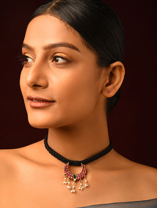 Red Green Gold Plated Kundan Silver Necklace with Pearls