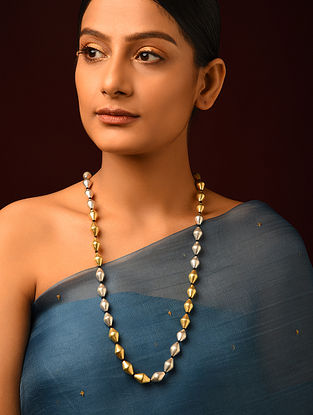 Dual Tone Tribal Silver Dholki Beaded Necklace