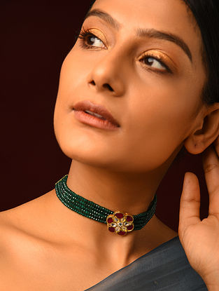Red Green Gold Plated Kundan Silver Necklace